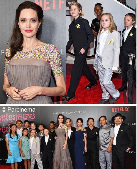 آنجلینا جولی و فرزندانش در افتتاحیه فیلم جدیدش