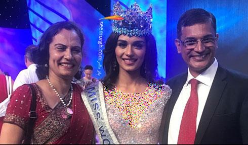 مانوشی چیلار Manushi Chhillar دختر شایسته 2017 به همراه پدر و مادرش