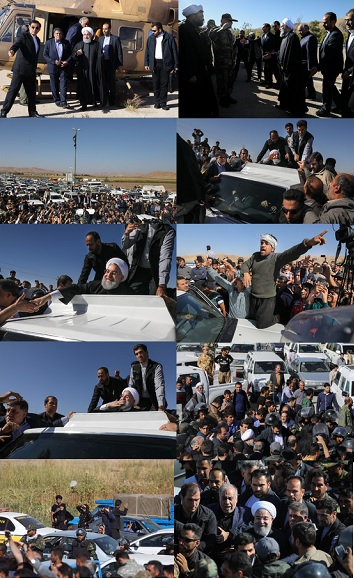 بازدید رئیسجمهور از مناطق زلزلهزده استان کرمانشاه+ تصاویر