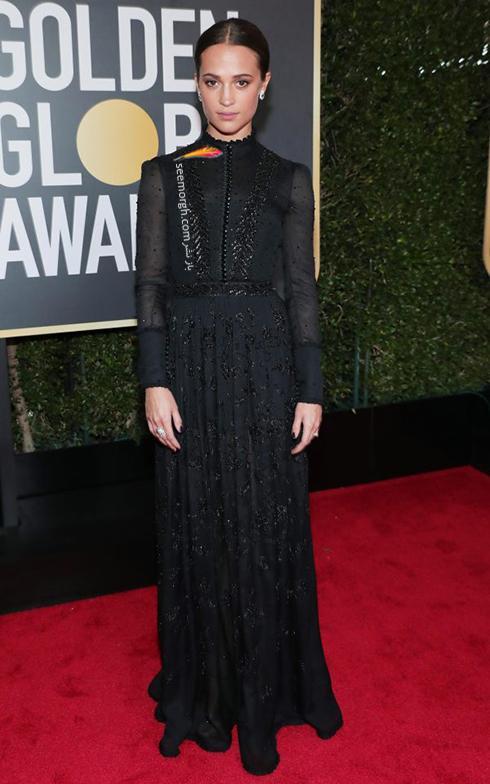 مدل لباس آليسيا ويکاندر Alicia Vikander در مراسم گلدن گلوب 2018