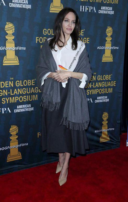 مدل لباس آنجلينا جولي Anjelina Jolie در خيريه انجمن مطبوعات خارجي هاليوود HFPA Trust - عکس شماره 1