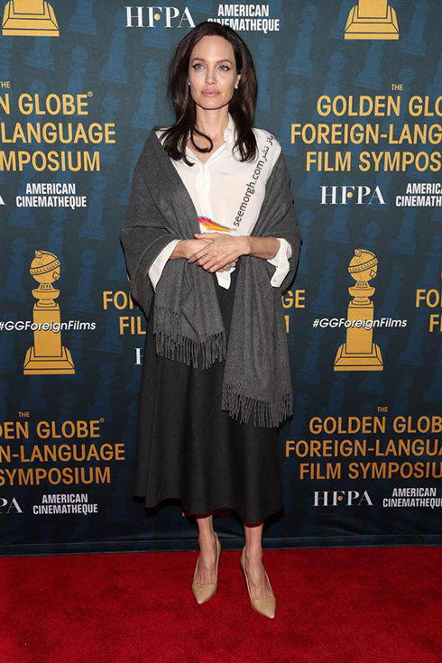 مدل لباس آنجلينا جولي Anjelina Jolie در خيريه انجمن مطبوعات خارجي هاليوود HFPA Trust - عکس شماره 2