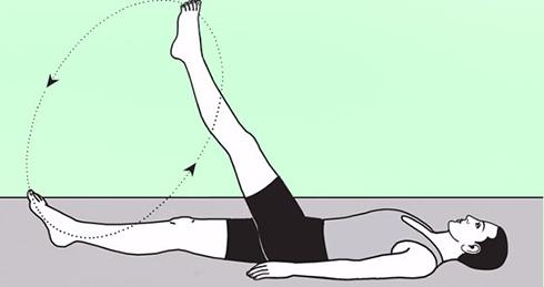 کوپک کردن شکم با حرکت چرخشی پا