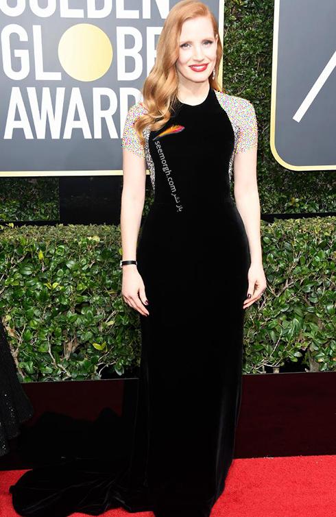 مدل لباس جسيکا چستين Jessica Chastain در مراسم گلدن گلوب 2018