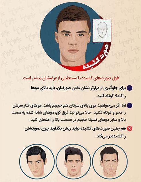 مدل مو مردانه برای صورت کشیده