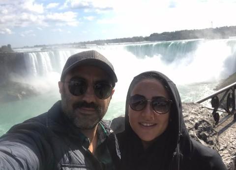 محسن تنابنده و همسرش در کنار آبشار نیاگارا