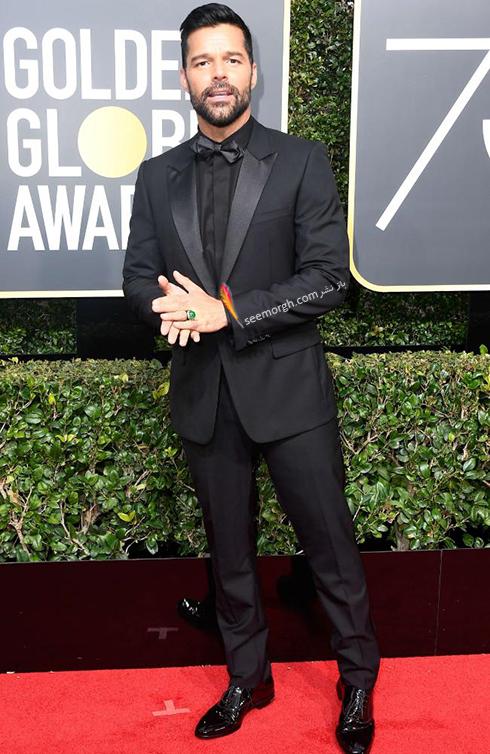 مدل کت و شلوار ريکي مارتين Ricky Martin در مراسم گلدن گلوب 2018