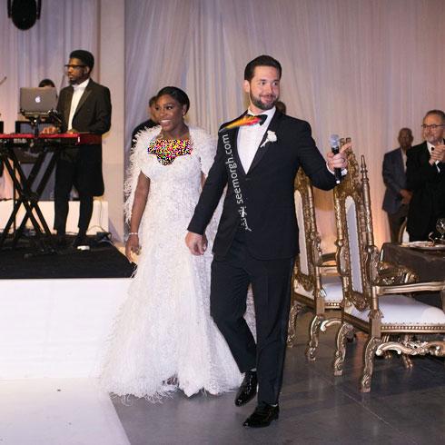 لباس عروس سرنا ويليامز سرنا ويليامز Serena Williams از طراحي هاي برند ورساچه Versace