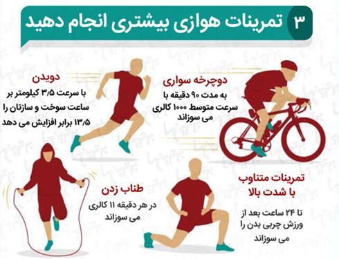 سومین قدم برای داشتن شکم سی پک ( شکم شش تکه ) استفاده از تمرینات هوازی است