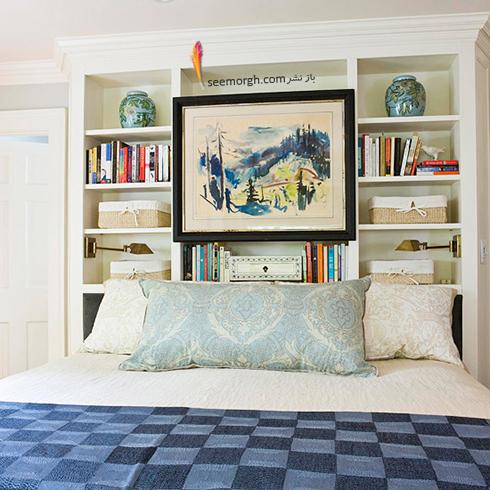 در اتاق خواب کوچک، بالای تخت خواب تان را تا زیر سقف قفسه بندی کنید