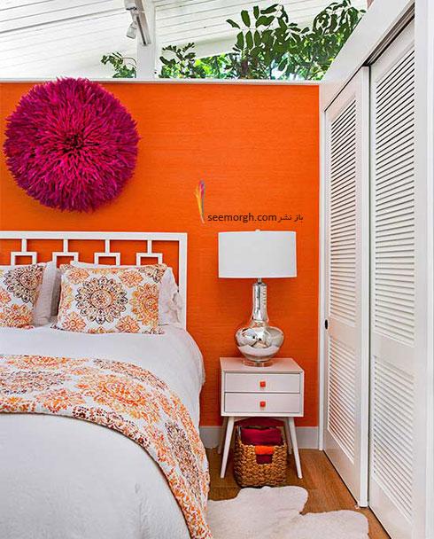 تزیین دیوار اتاق خواب با رنگ های تک رنگ