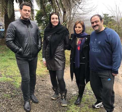 مهران غفوریان در کنار همسرش و آزیتا ترکاشوند و پژمان بازغی