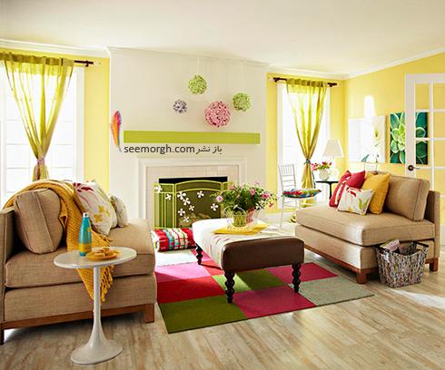 دکوراسیون اتاق نشیمن تان را با یک فرش رنگارنگ بهاری کنید
