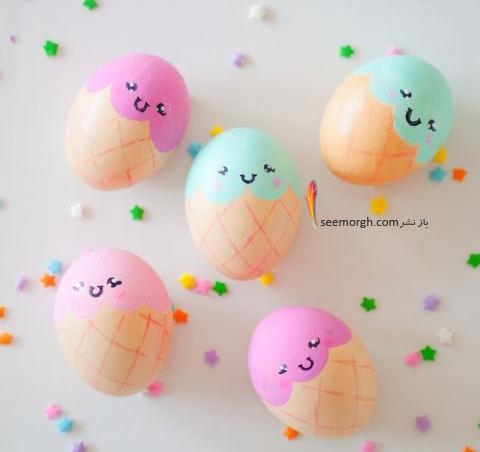 تزیین تخم مرغ هفت سین با آب رنگ و گواش - مدل شماره 4