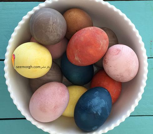 تزیین تخم مرغ هفت سین با آب رنگ و گواش - مدل شماره 3