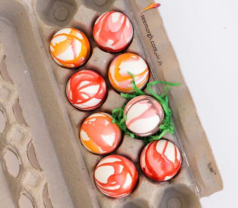 تزیین تخم مرغ هفت سین با آب رنگ و گواش - مدل شماره 1