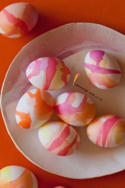 تزیین تخم مرغ هفت سین با آب رنگ و گواش - مدل شماره 11