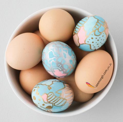 تزیین تخم مرغ هفت سین با آب رنگ و گواش - مدل شماره 8