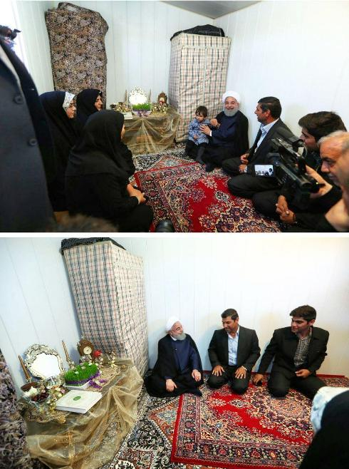 روحانی در کانکس یکی از زلزله زدگان در کرمانشاه