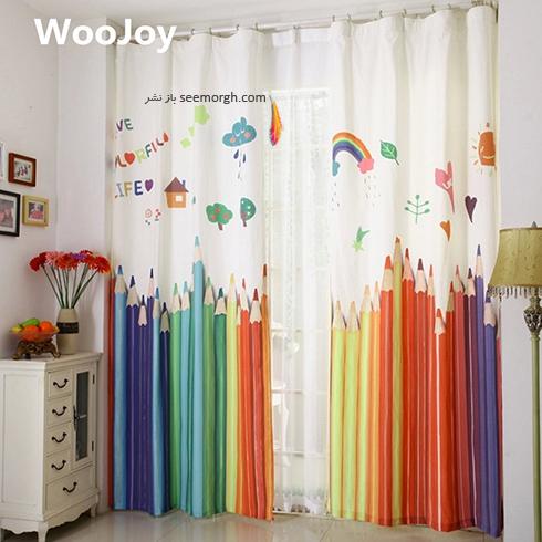 تزيين اتاق کودک با پرده هاي رنگي و فانتزي - مدل شماره 1