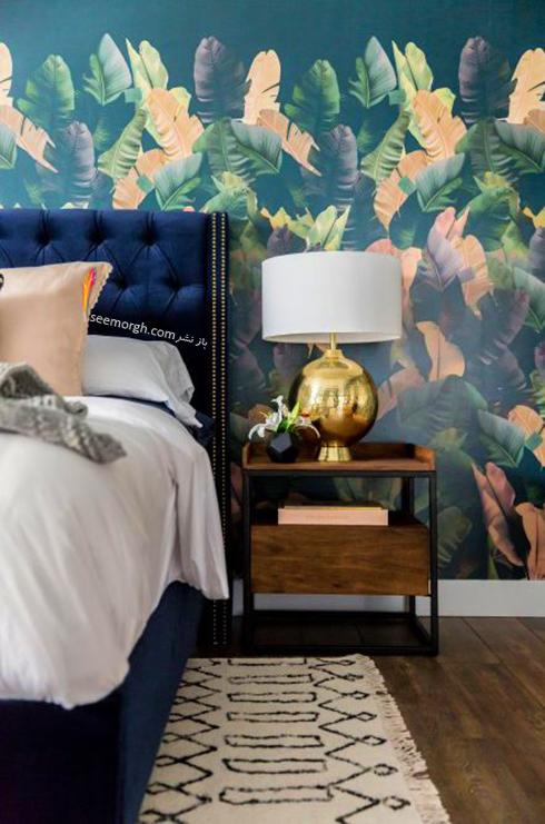کاغذ دیواری اتاق خواب با طرح برگ