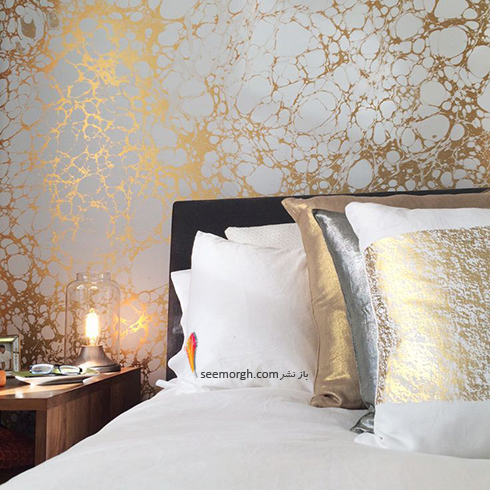 کاغذ دیواری اتاق خواب با تلفیق طلایی و نقره ای براق