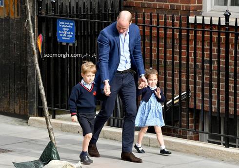 شاهزاده جورج و پرنس شارلوت در حال وارد شدن به بیمارستان برای دیدن برادرشان