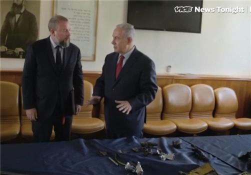 نمایش قطعاتی از پهپاد ایرانی ساقطشده در جولان توسط نتانیاهو