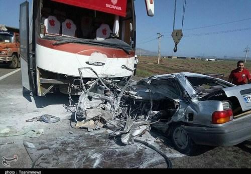 2 کشته در تصادف مهیب پراید با اتوبوس