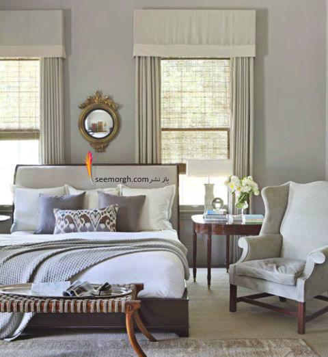 بدترین رنگ برای اتاق خواب زن و شوهر :  دکوراسیون اتاق خواب به رنگ خاکستری تیره