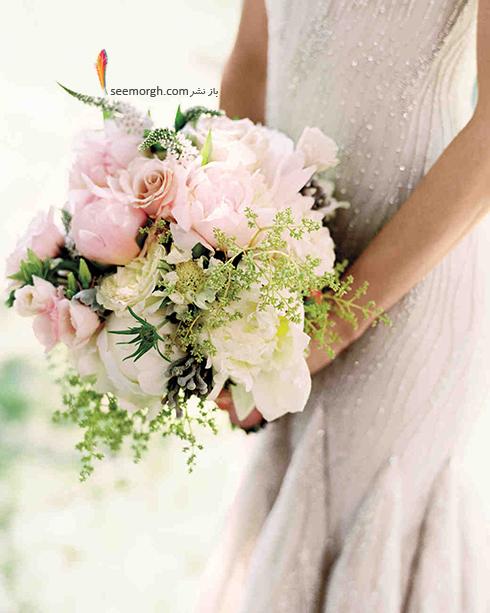 دسته گل عروس 2018 با گل هاي سفيد - مدل شماره 13