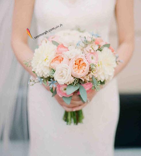 دسته گل عروس 2018 با گل هاي سفيد - مدل شماره 3