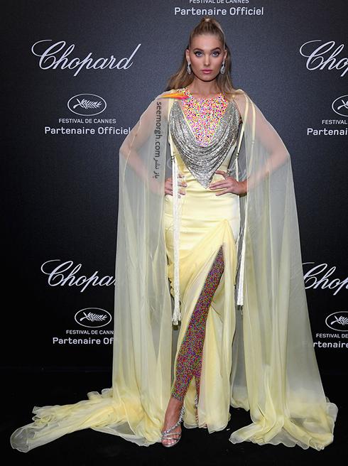 جشنواره کن 2018 Cannes، مدل لباس در شوی جواهرات برند شوپارد Chopard - السا هاسک Elsa Hosk