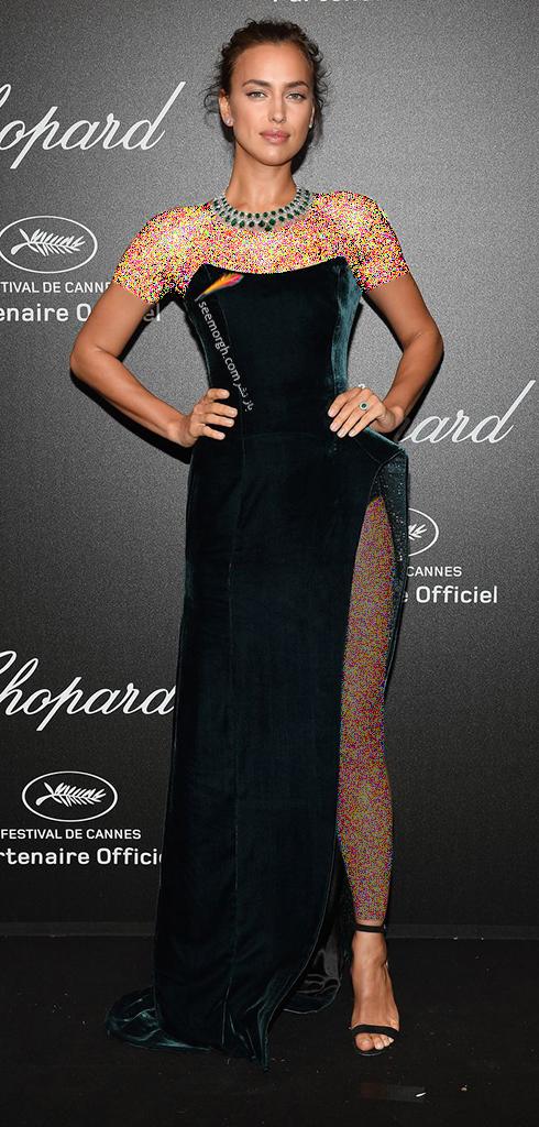 جشنواره کن 2018 Cannes، مدل لباس در شوی جواهرات برند شوپارد Chopard - ایرینا شایک Irina Shayk