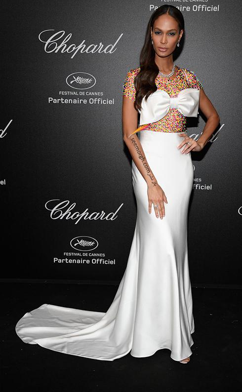 جشنواره کن 2018 Cannes، مدل لباس در شوی جواهرات برند شوپارد Chopard - جوان اسمالز Joan Smalls
