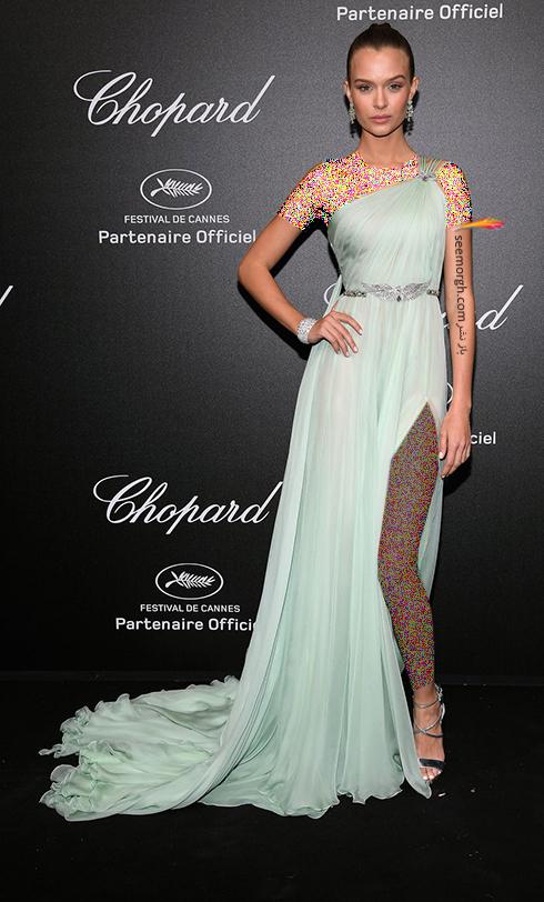 جشنواره کن 2018 Cannes، مدل لباس در شوی جواهرات برند شوپارد Chopard - ژوزفین اسکریور Josephine Skriver