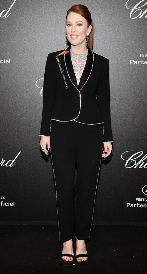 جشنواره کن 2018 Cannes، مدل لباس در شوی جواهرات برند شوپارد Chopard - جولین مور Julianne Moore