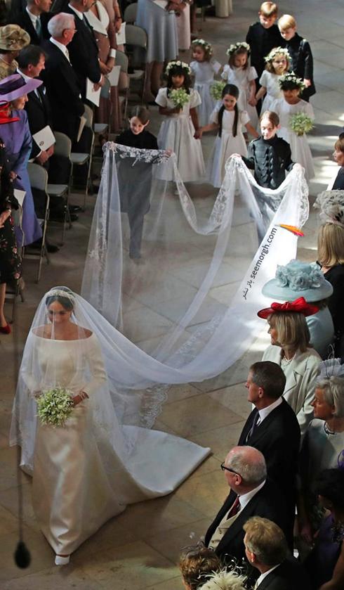 لباس عروس مگان مارکل Meghan Markle با تور سر 6 متری - عکس شماره 1