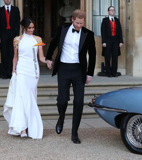 مگان مارکل Meghan Markle و پرنس هری Prince Harry در حال رفتن به میهمانی شام مراسم عروسی شان - عکس شماره 2