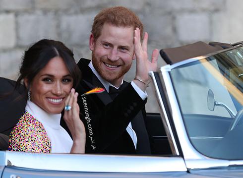 مگان مارکل Meghan Markle و پرنس هری Prince Harry در حال رفتن به میهمانی شام مراسم عروسی شان - عکس شماره 1