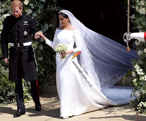 لباس عروس مگان مارکل Meghan Markle با تور سر 6 متری - عکس شماره 4