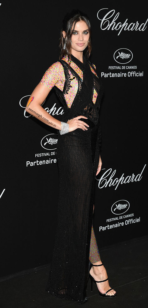 جشنواره کن 2018 Cannes، مدل لباس در شوی جواهرات برند شوپارد Chopard - سارا سامپاو Sara Sampaio