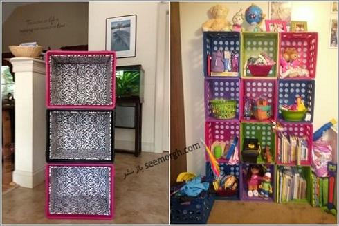 تبدیل سبد پلاستیکی میوه به قفسه، چگونه با سبد پلاستیکی میوه قفسه درست کنیم؟,درست کردن قفسه با سبد میوه پلاستیکی