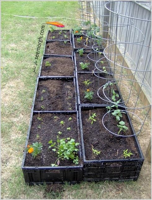 تبدیل سبد پلاستیکی میوه به باغچه عمودی، چگونه با سبد پلاستیکی میوه باغچه عمودی درست کنیم؟