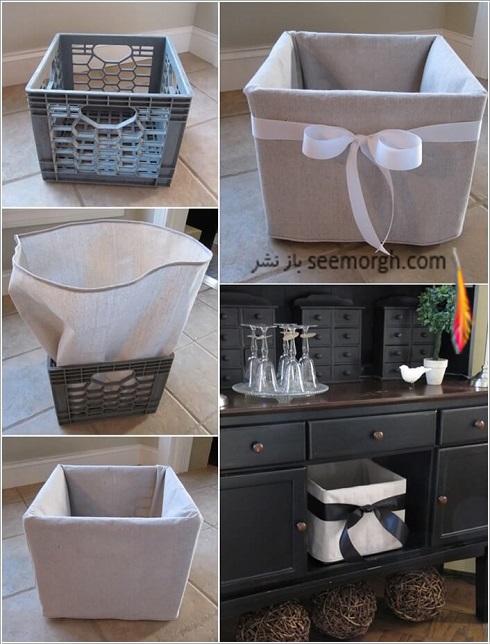 تبدیل سبد پلاستیکی میوه به باکس نگهداری وسایل، چگونه با سبد پلاستیکی میوه باکس نگهداری لوازم درست کنیم؟