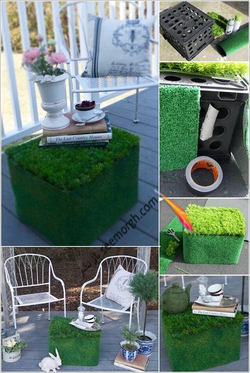 تبدیل سبد پلاستیکی میوه به میز فضای باز، چگونه با سبد پلاستیکی میوه میز فضای باز درست کنیم؟
