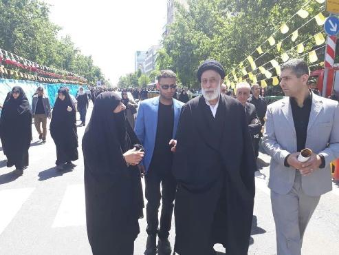 حجت الاسلام سید هادی خامنه ای در راهپیمایی روز قدس در سال 97