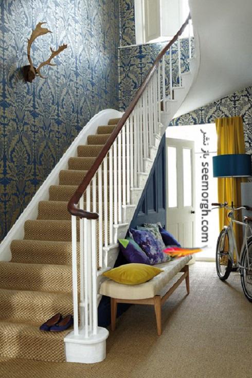 ترکیب رنگ های آبی و زرد در فضای راهرو و پله ها,دکوراسیون داخلی، ترکیب رنگ، دکوراسیون داخلی منزل