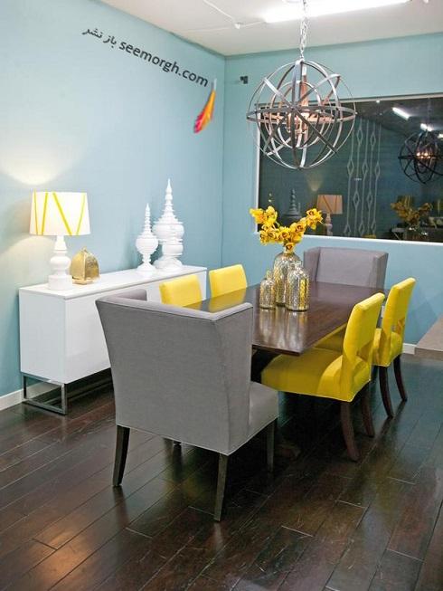 دکوراسیون اتاق غذاخوری,دکوراسیون اتاق غذاخوری با ترکیب آبی و زرد,دکوراسیون داخلی، ترکیب رنگ، دکوراسیون داخلی منزل