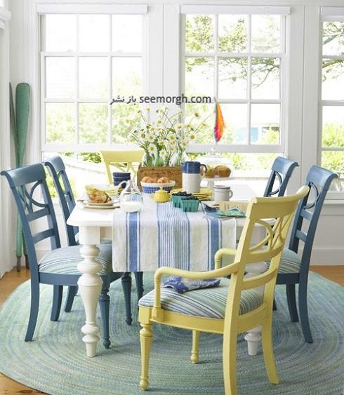 دکوراسیون اتاق ناهار خوری با ترکیب آبی و زرد,دکوراسیون داخلی، ترکیب رنگ، دکوراسیون داخلی منزل